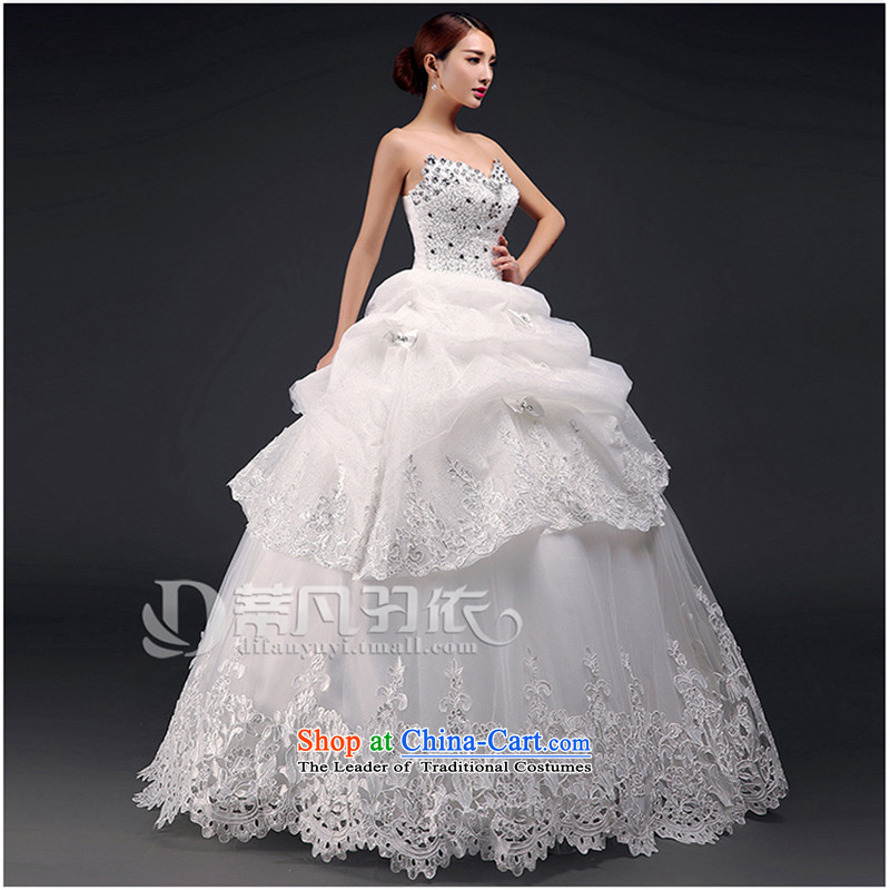 Stéphane Yu to wedding dresses new 2015 Summer marriages wedding wedding dresses larger pregnant women to align the Korean video thin wiping the Chest Sau San Diamond Wedding m White XL