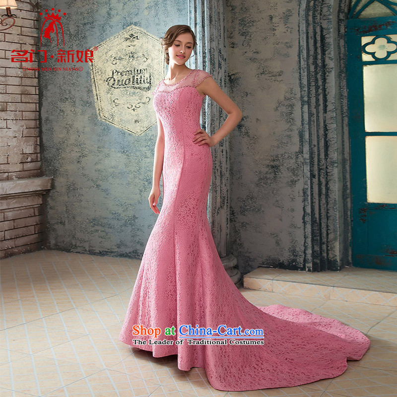 A Bride wedding dresses elegant Peach-pink dresses crowsfoot dinner serving small trailing lace 423 pink?M