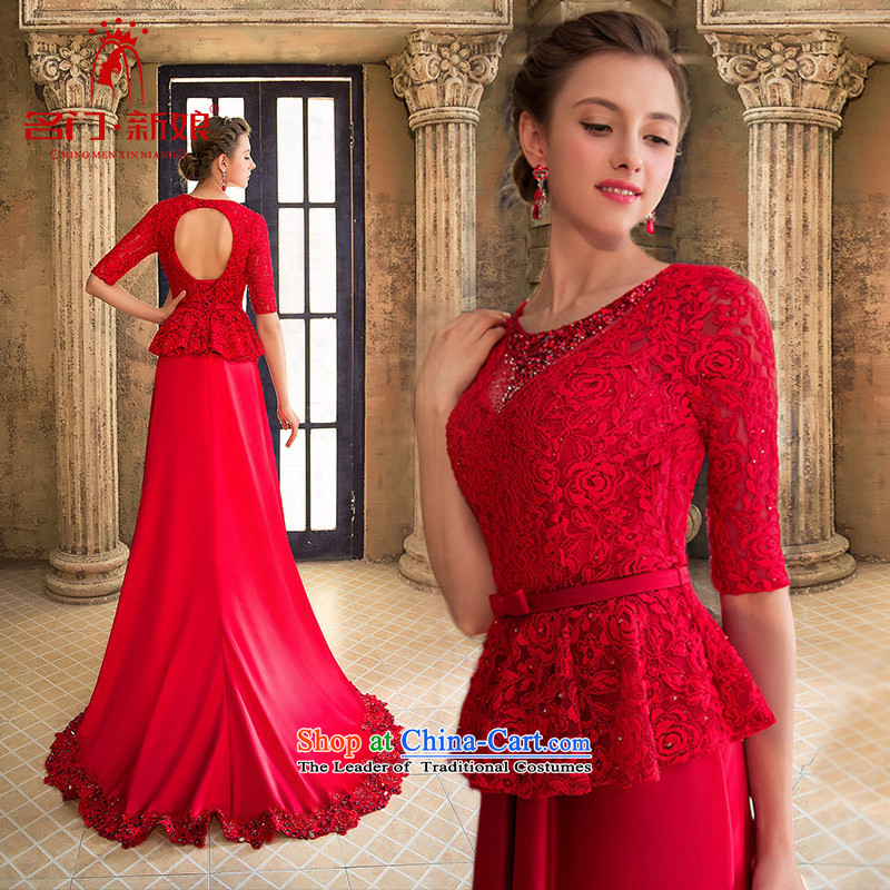 A Bride wedding dresses stylish bows dress small red tail dress video thin聽red 905聽S