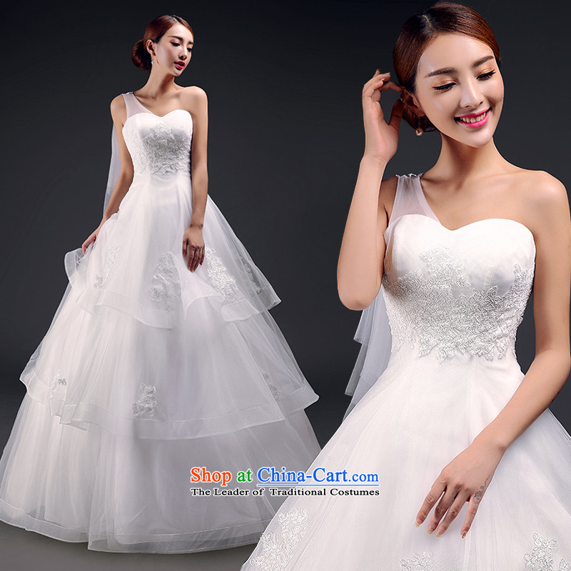In accordance with the single Jimmy Stéphane shoulder Wedding 2015 new Korean lace anointed chest Sau San wedding to align the stylish strap white S