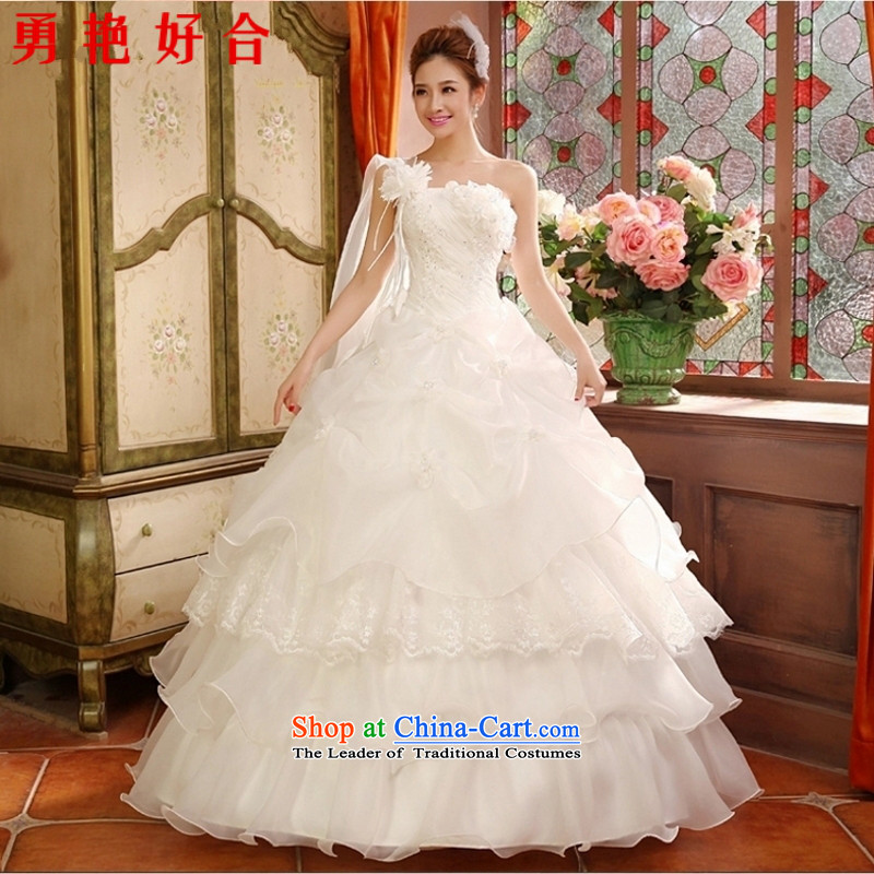 Yong-yeon and 2015 autumn and winter new stylish wedding dresses Korean style to align the shoulder larger Fat MM video thin tail wedding to align the white winter?S