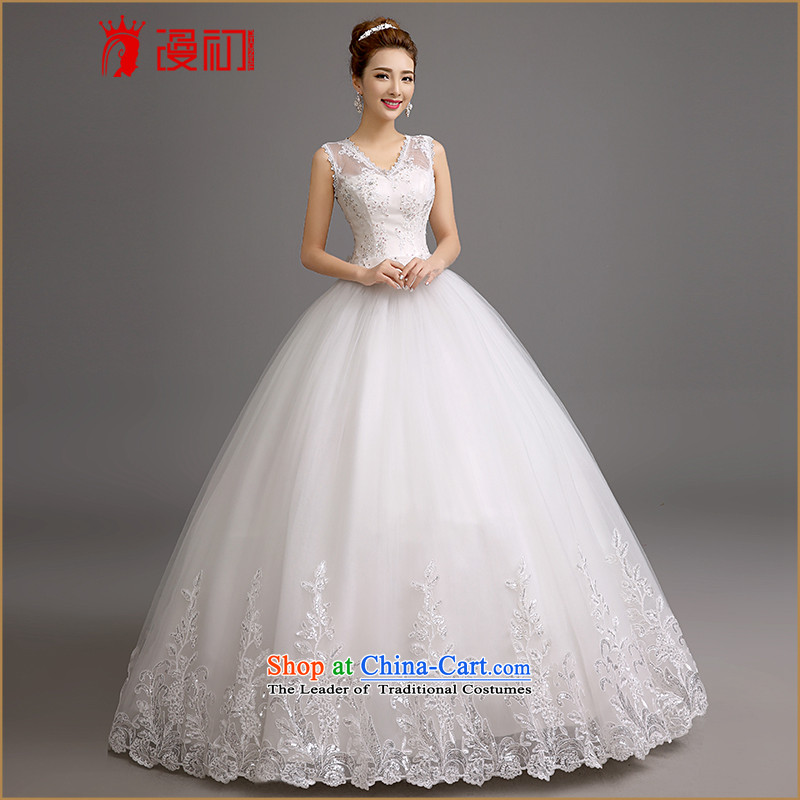 In the early 2015 new man wedding dresses Korean shoulders V-Neck Wedding On-chip video thin snap to bon bon skirt wedding white?L code