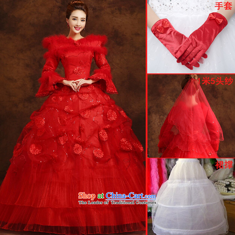 The knot true love red wedding dresses 2015 new Korean strap new long-sleeved marriages plus gross thick cotton Winter Female clip red plus gross thick Korean style banding�S head to glove skirt Brace