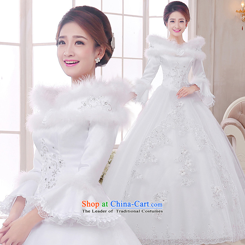The knot true love of autumn and winter new wedding Korean Won-sweet to align the long-sleeved winter) Marriages video thin princess bon bon dress Warm wedding dress white long-sleeved to align the princess bon bon skirt?L head glove Skirt holding 3-piece