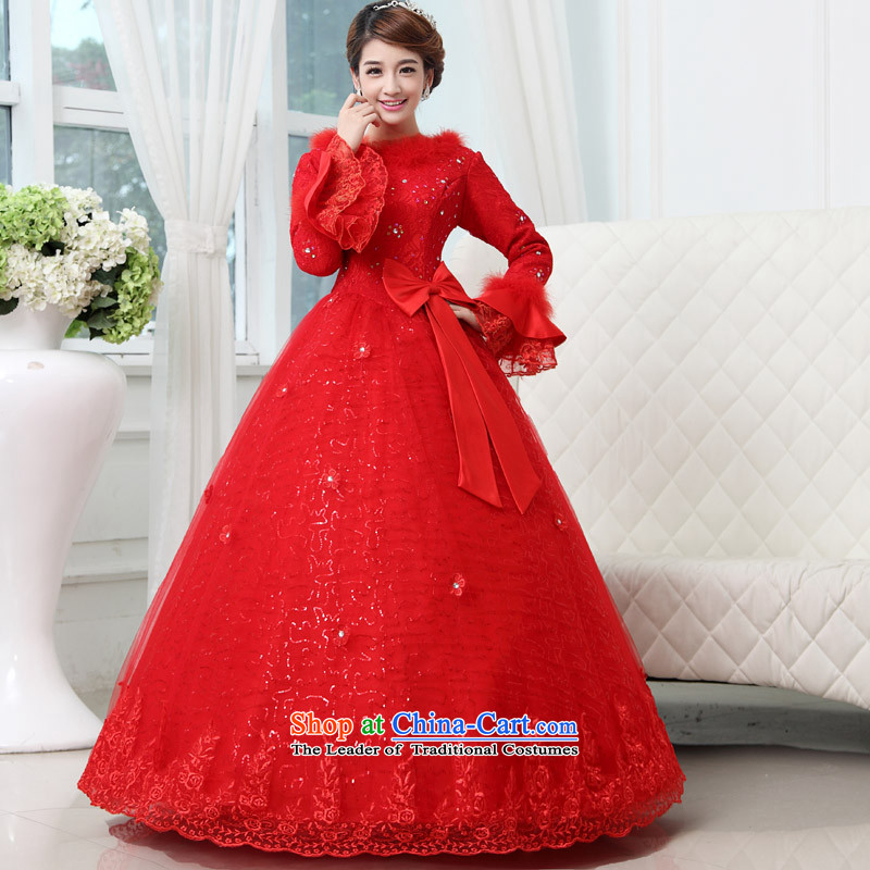 The knot of true love winter lace wedding dresses new Word 2015 shoulder the cotton waffle long-sleeved to align bon bon skirt straps large red , sent three piece XL