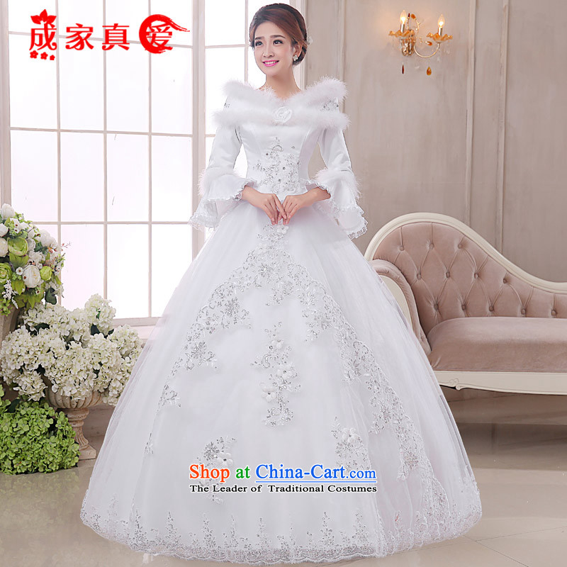 The knot true love of autumn and winter new wedding to align the winter of long-sleeved marriages video thin princess bon bon dress Warm wedding dresses White�M to 3-piece set