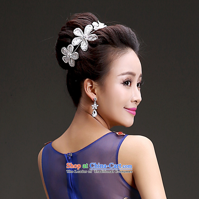 The Friends of the bride wedding dresses accessories Korean Head Ornaments Crown necklace earrings three piece high water drilling head-dress ornaments, Yi (LANYI) , , , shopping on the Internet