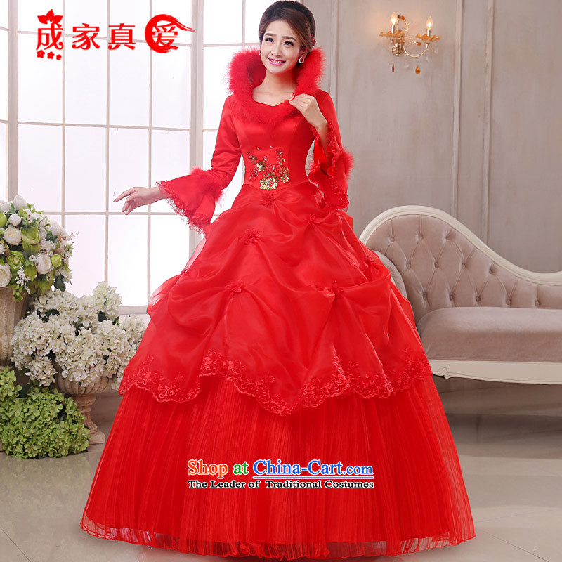 The knot true love red wedding dresses 2015 new winter Korean long-sleeved shoulders bride stylish wedding plus gross to align the wedding Red + 3-piece?XL