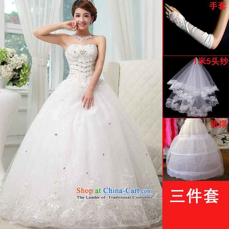 The knot true love wedding dresses Spring_Summer 2015 new stylish bride anointed chest lace to align the large graphics thin white Korean style package mail D White聽M