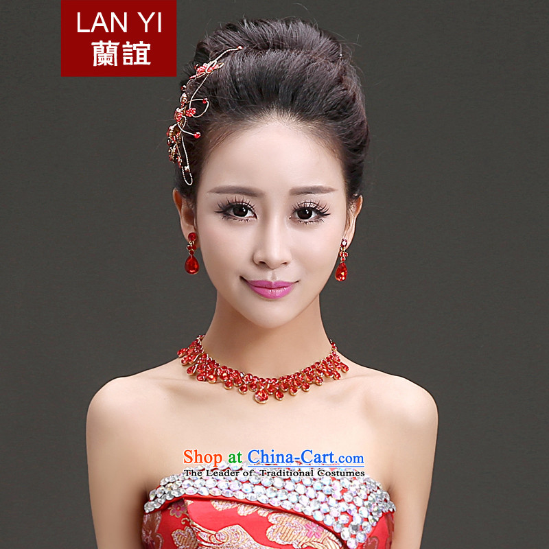 The Friends of the bride wedding dresses qipao accessories Korean brides Phoenix water drill ornaments necklace earrings three piece bridal red jewelry Kits