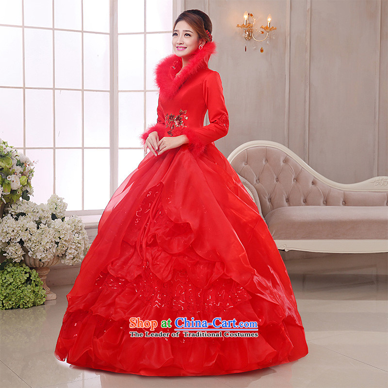The knot of true love, wedding dresses winter 2015 new red shoulders a long-sleeved marriages to align the wedding plus gross fall thick red wedding + 3-piece set M Chengjia True Love , , , shopping on the Internet