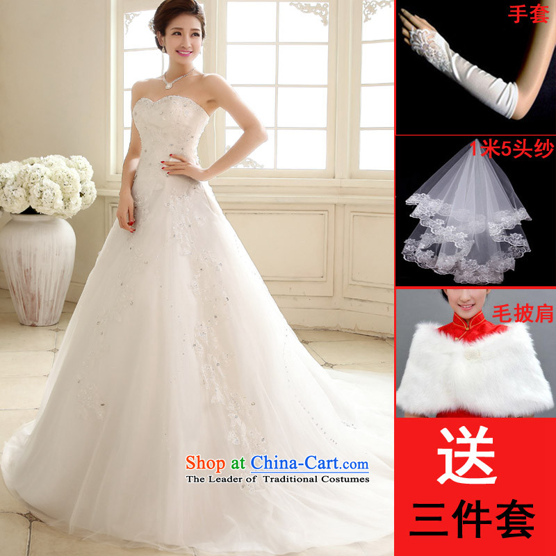 The knot True Love 2015 new Korean alignment with chest white large bride Sau San female wedding dresses trailing white streaks in the winter with 3-piece set S