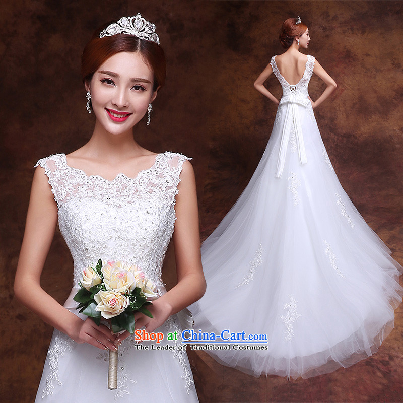 The knot of the word love shoulder tail wedding dresses 2015 new Korean shoulders lace diamond marriages crowsfoot autumn and winter female White燲L