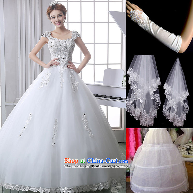 The knot true love wedding dress 2015 new Korean word shoulder lace diamond align to skirt straps bon bon larger female White XXL sent autumn kits in remote areas Not Accepted Packets
