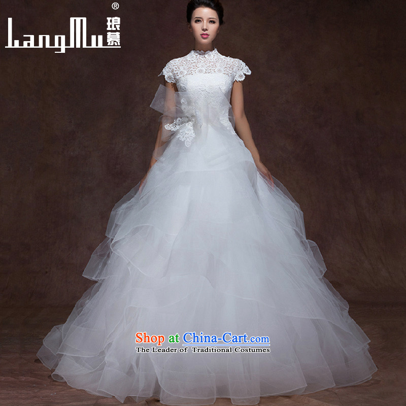 The爊ew 2015 Luang wedding dresses Lace Embroidery Wang weiwei collar double shoulder bags vera tail wedding dresses wang L
