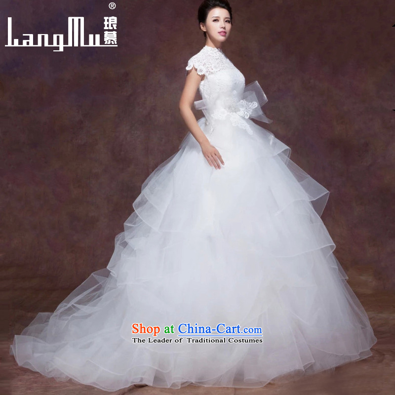 The New 2017 Luang Wedding Dresses Lace Embroidery Weiwei Collar Double Shoulder Bags Vera Tail L