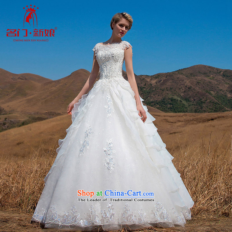 A new 2015 bride retro wedding video word thin lace stereo flower shoulder bon bon Princess 562 short-sleeved) S