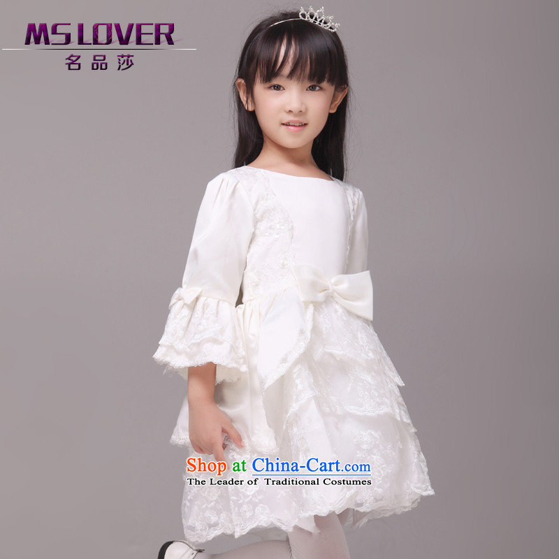 ?Long-sleeved palace horn cuff mslover bon bon princess dress children dance performances to birthday dress Flower Girls serving HTZ1230901 rice white?8