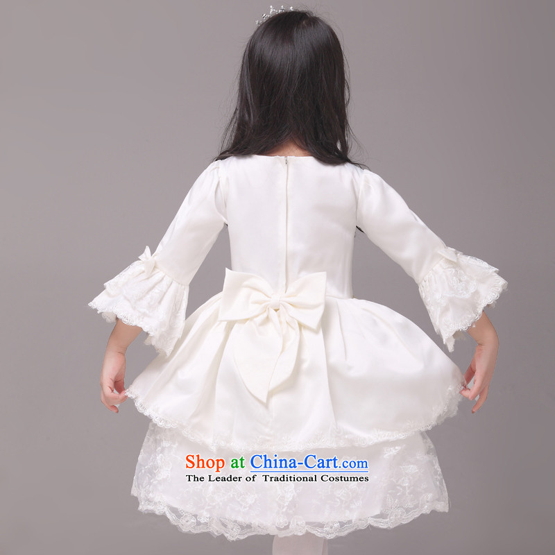 Long-sleeved palace horn cuff mslover bon bon princess dress children dance performances to birthday dress Flower Girls serving HTZ1230901 rice white 8, name of Lisa (MSLOVER) , , , shopping on the Internet