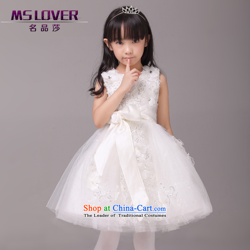 Mslover parent-child dress lace flowers bow tie bon bon princess skirt children dance performances to Birthday Flower Girls 8808 m 8 white dress code