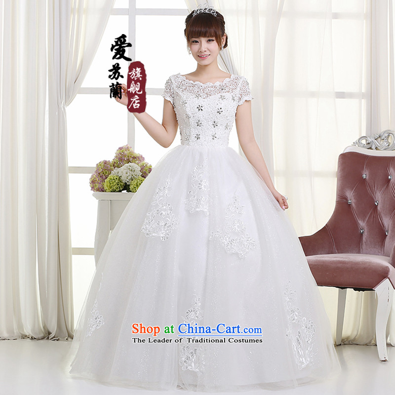 The new 2015 wedding video thin snap to wedding dresses retro lace shoulder straps V-Neck bon bon skirt female Summer Wedding white L