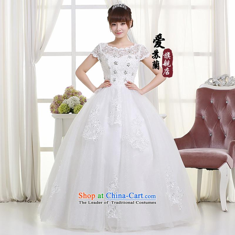 The new 2015 wedding video thin snap to wedding dresses retro lace shoulder straps V-Neck bon bon skirt female Summer Wedding whiteL, Love Su-lan , , , shopping on the Internet