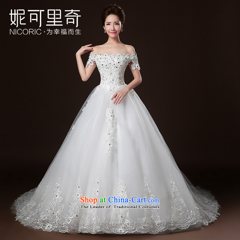 Wedding dresses new Word 2015 winter stylish wedding small shoulder bride tail wedding lace Diamond White L I bought it for Sau San rushed wedding three kit)