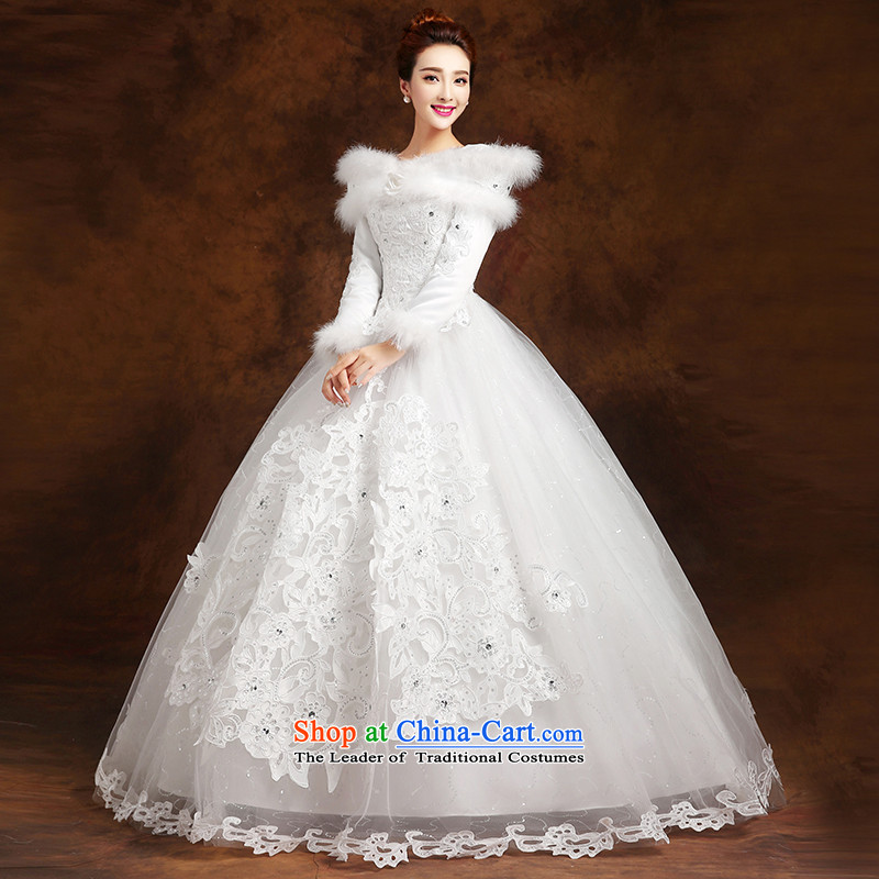 The knot true love wedding dress 2015 new marriages Korean word shoulder straps long-sleeved warm to align thick winter female white?S