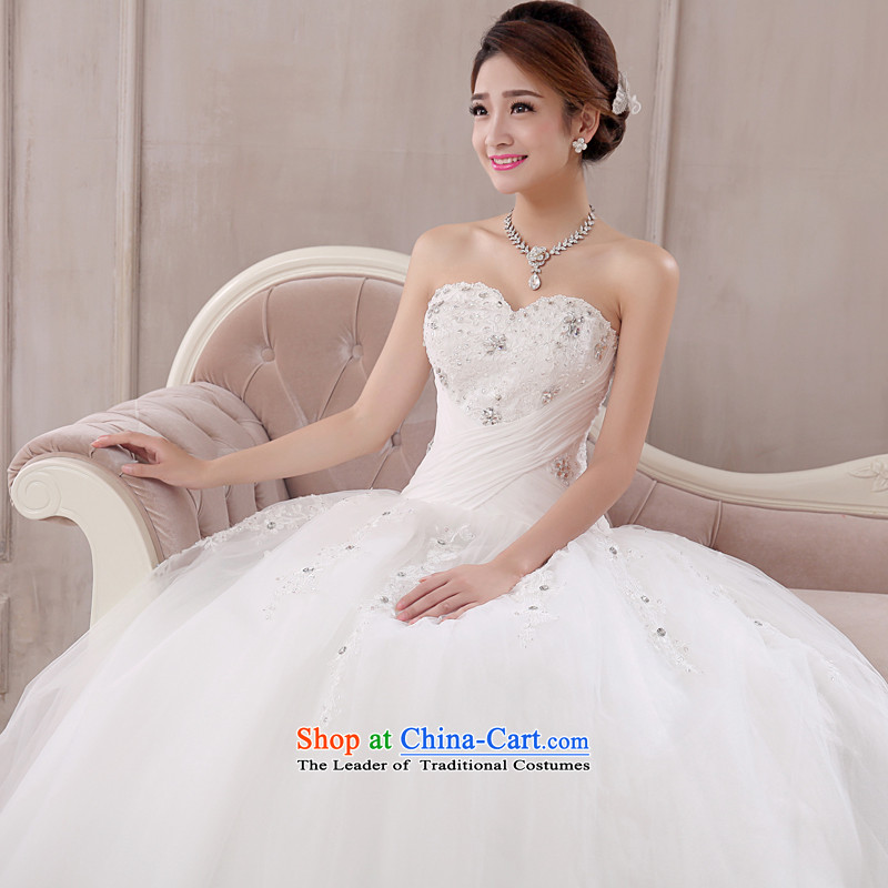 The knot true love wedding dress 2015 new Korean marriages alignment with chest bon bon skirt straps for larger video thin winter female white?L