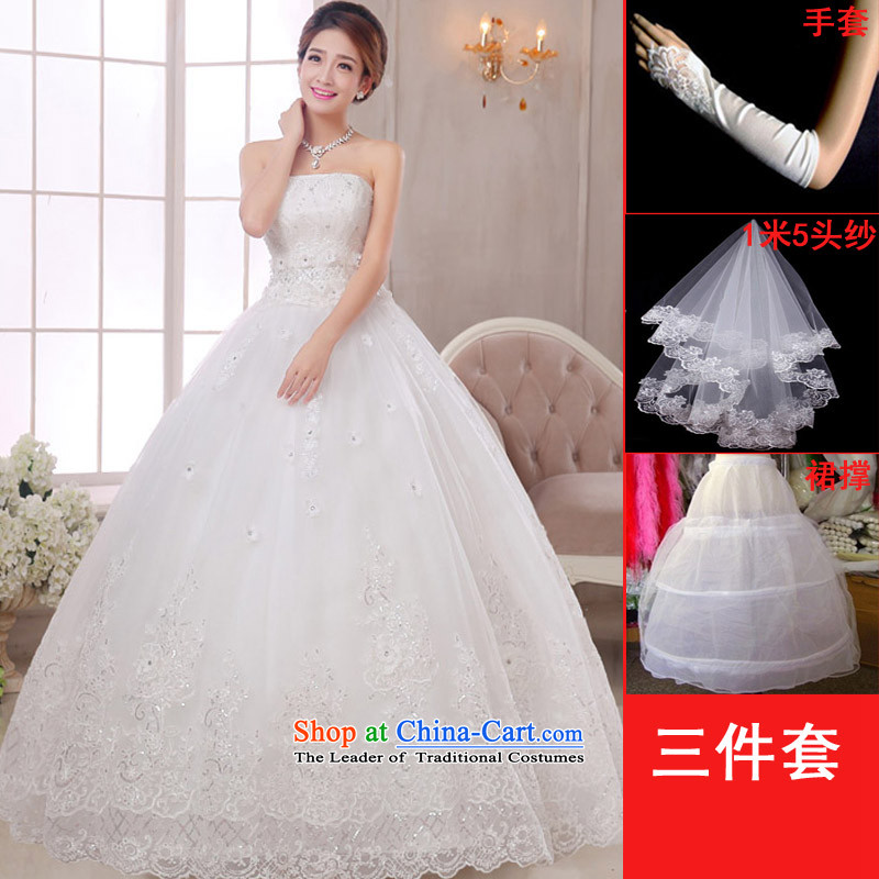 The knot true love wedding dress 2015 new Korean wiping the chest to align marriages princess straps for larger video thin white women's clothes winter S