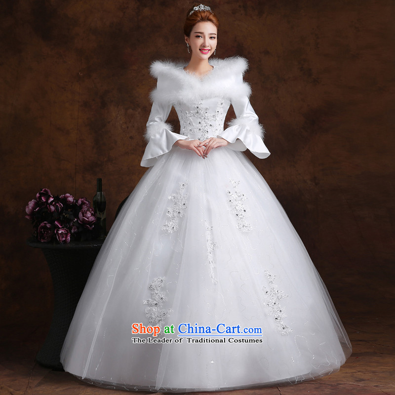 The knot true love wedding dress 2015 new Korean fashion a field to align the shoulder long-sleeved marriages video thin large winter female white�L