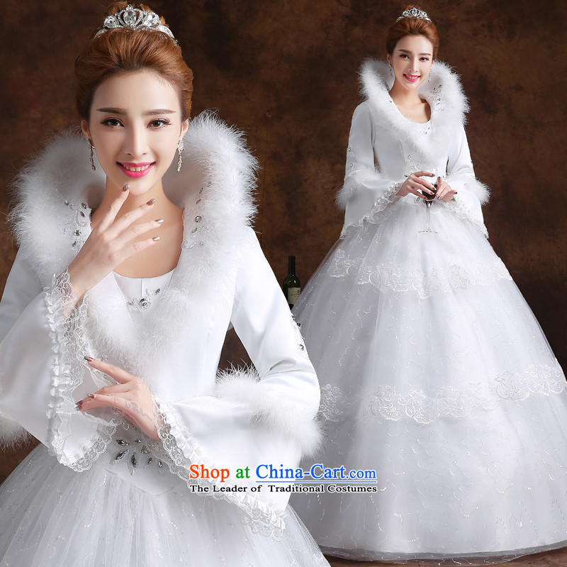 The knot true love wedding dress 2015 new winter long-sleeved shoulders marriages to align the large skirt bon bon video thin white M fall inside the girl