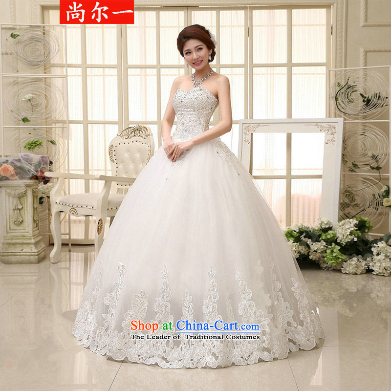 Yet a serious princess wedding Heung-long tail new sweet anointed chest straps Korean wedding dresses xs2325 m White燲XL