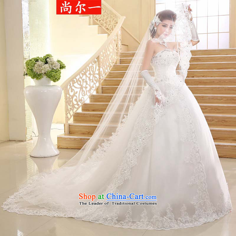 Yet, a Wedding Korean alignment with chest lace stylish Korean Princess large tail xs2400 m White聽L