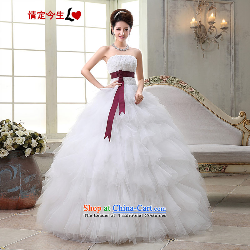 Love of the overcharged 2015 Korean sweet princess straps pregnant women small trailing crowsfoot wedding dresses white alignment with Chest Foutune of transition to align the princess wedding dress_ XS
