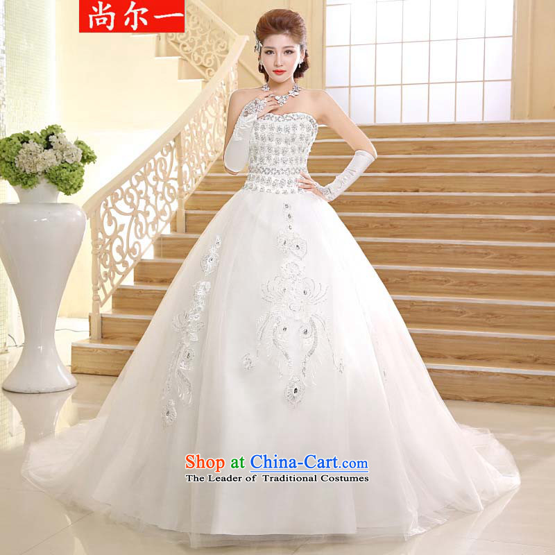 A major naoji tail wedding video thin wiping the Chest Sau San long tail wedding dresses xs2410 m White?M