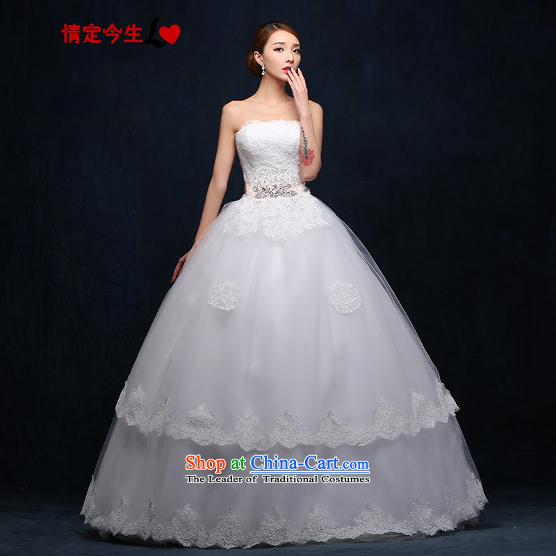 Love of the overcharged anointed chest Wedding 2015 new Korean Princess align to bind with white diamond bow tie lace the yarn Princess Skirt holding white XS