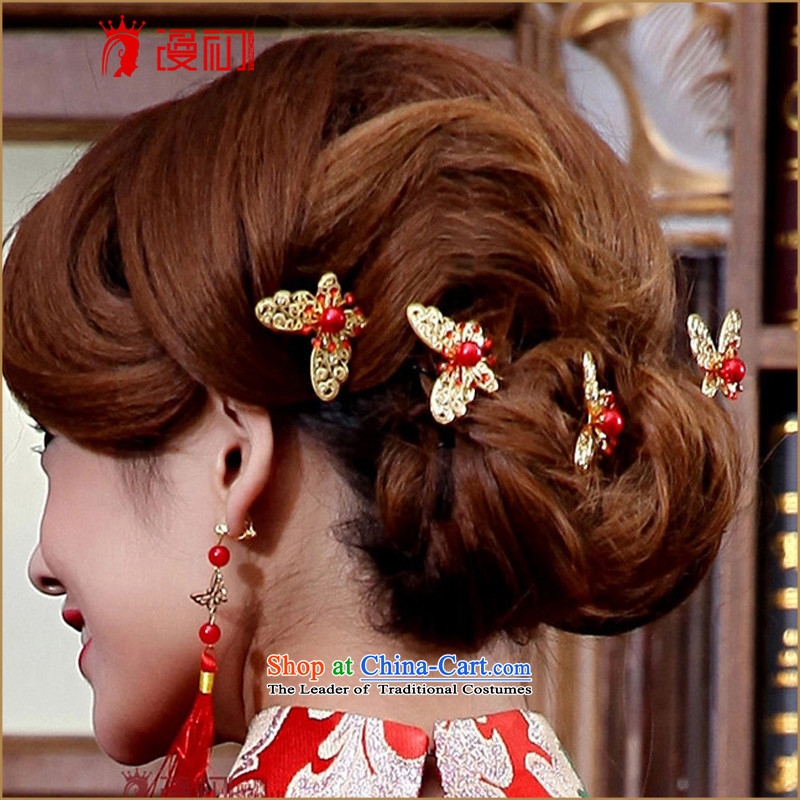 At the beginning of Castores Magi bride kanzashi sub head-dress ornaments marriage bride hair decorations red wedding dresses qipao butterfly Hair ornaments of the Red