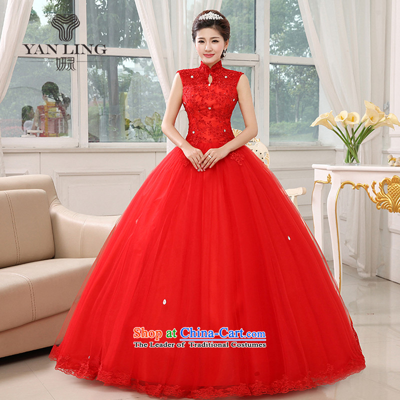 2015 New Red wedding dresses bride to align graphics thin package shoulder straps lace retro HS348 large red�M