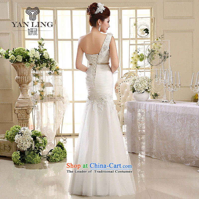 2015 wedding dresses new Korean Princess shoulder straps wedding dresses crowsfoot wedding HS582 White M, Charlene Choi spirit has been pressed shopping on the Internet