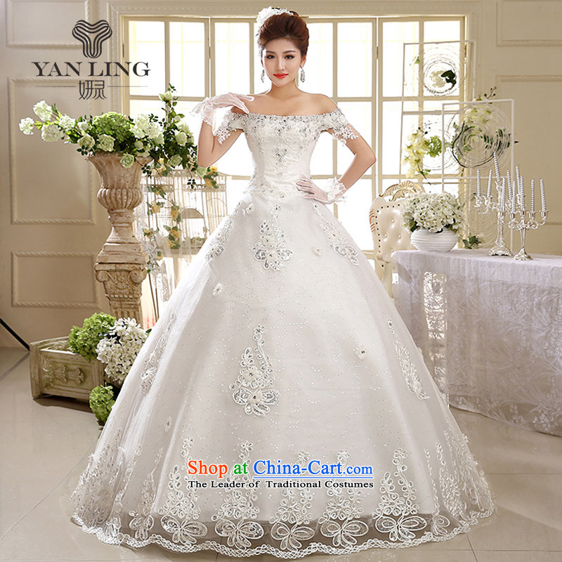 2015 wedding dresses new 2014 Korean Bridal Suite a field to align the shoulder graphics thin Korean HS593 strap White?XXL