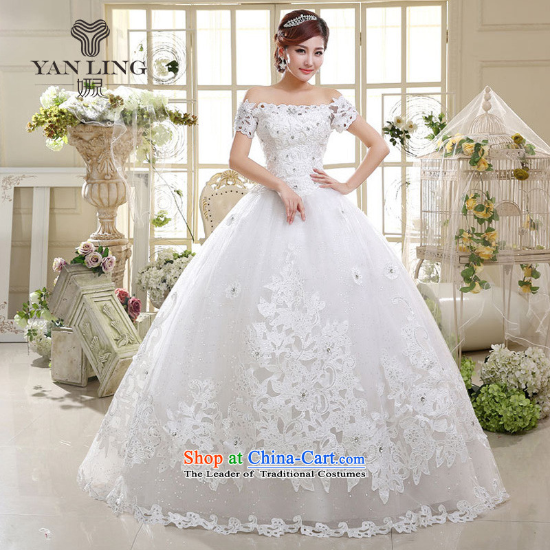 2015 wedding dresses new international new strap to align the word shoulder bon bon skirt Princess Bride wedding HS598 white?S