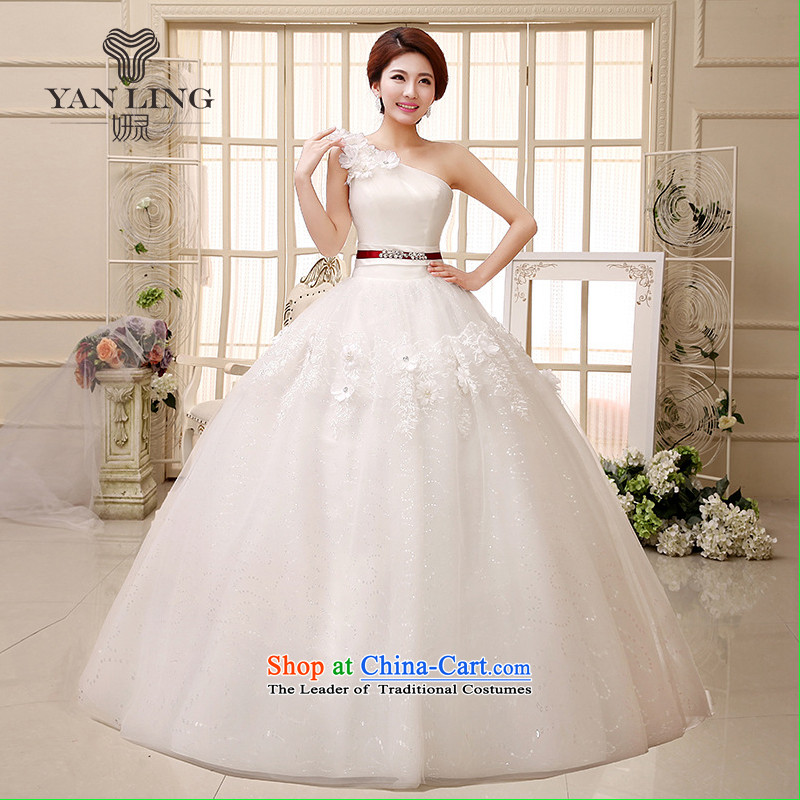 2015 new wedding dress shoulder bon bon skirt small Qingxin flowers to align manually stylish wedding HS522 White XXL