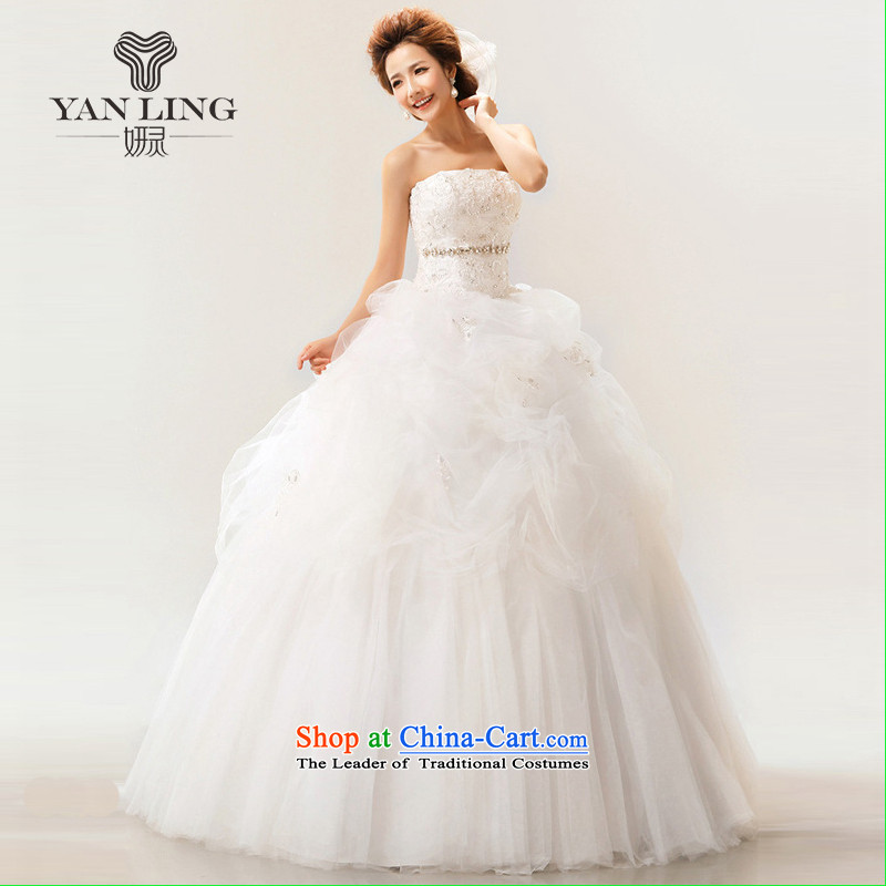 The Korean version of the new 2015 Korean sweet words to his chest straps bride wedding dresses white?L
