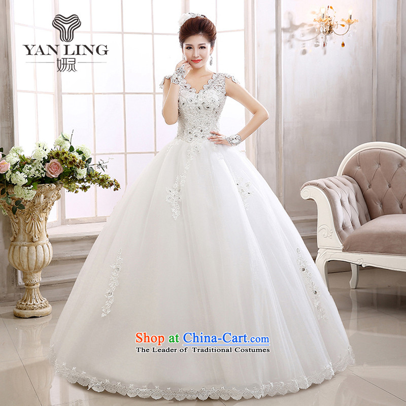 2015 new marriages stylish Korean water-soluble lace a field tent skirt brides shoulder wedding HS579 White?XXL