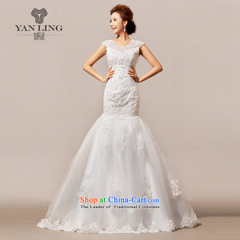 2015 new wedding tail winter wedding wedding word shoulder HS136 White M