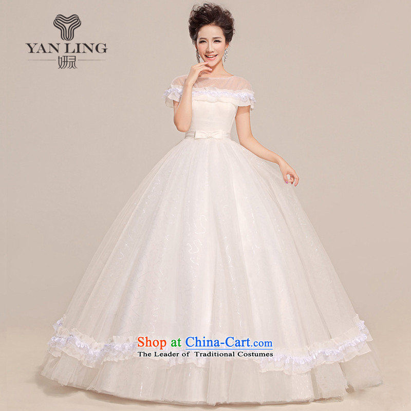 2015 new wedding sexy a field to align the shoulder bon bon butterfly end waist wedding HS213 White XL