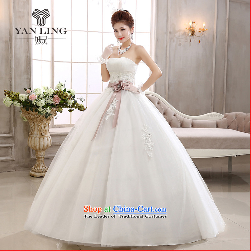 The spring of 2015 New White anointed chest to align the bride bow tie pregnant women marry stylish wedding dresses HS558 White?XL