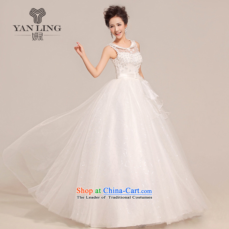 2015 new stylish wedding dresses to align the Korean brides thin large Antique Lace shoulders HS391 white?S