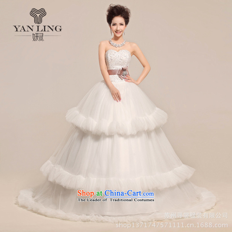 2015 new heart anointed Chest Flower waist waves Fung skirt wedding dresses white?L